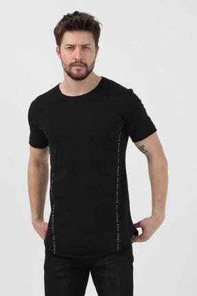 XHAN Siyah Yanı Baskılı T-shirt 1kxe1-44621-02 3