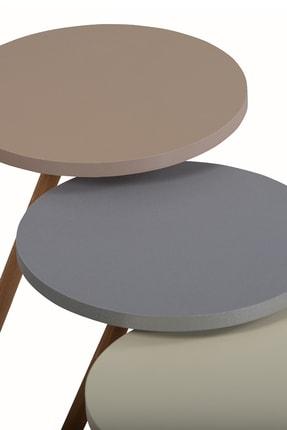 interGO Renkli Üçlü Zigon Sehpa Ahşap Ayaklı Yuvarlak Pastel Tasarım Gri Krem Cappuccino 3