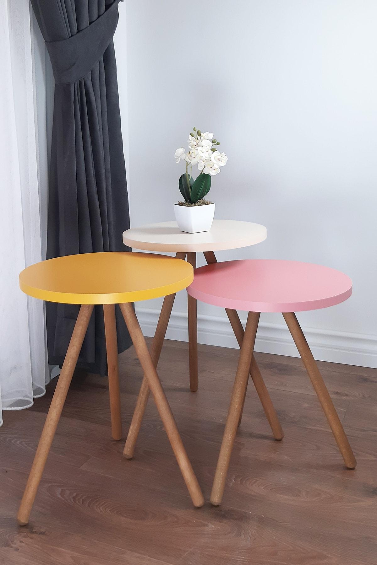 Renkli Üçlü Zigon Sehpa Ahşap Ayaklı Yuvarlak Pastel Tasarım - Sarı Krem Pembe