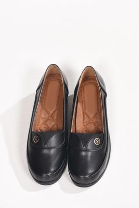 Kadın Siyah Deri Tam Ortopedik Günlük Anne Ayakkabısı Babet Ba20348 BA20348