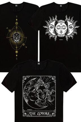 Rock & Roll Erkek Siyah Biz Ayrılamayız, Kuru Güneş, Siyah Ay Güneş 3'lü Eko Paket T-Shirt 0
