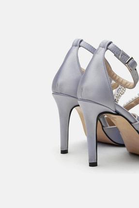 Jorbinol Kadın Gümüş Renk Bant Detaylı Hera Topuklu  Abiye Ayakkabı 2
