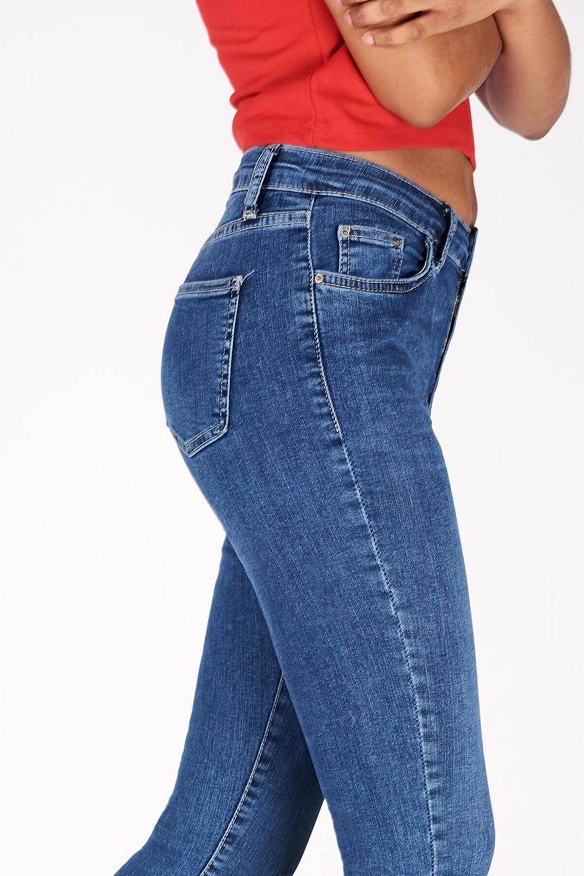 Addax Kadın Kot Rengi Orta Bel Pantolon Pn5799 - Pnr ADX-0000016979 3