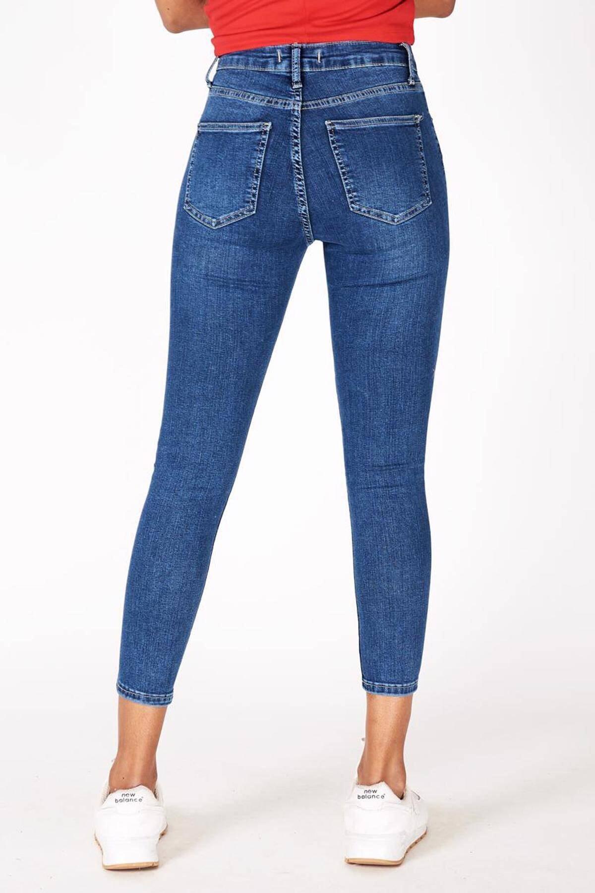 Addax Kadın Kot Rengi Orta Bel Pantolon Pn5799 - Pnr ADX-0000016979 4