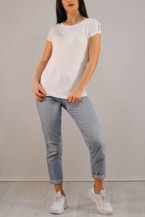 Lukas Kadın Beyaz Omuz Dantelli Tişört 5039. 1