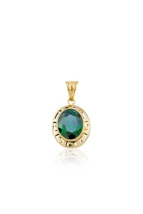 Altın Grek Zümrüt Yeşili Kolye KLGRK1012003