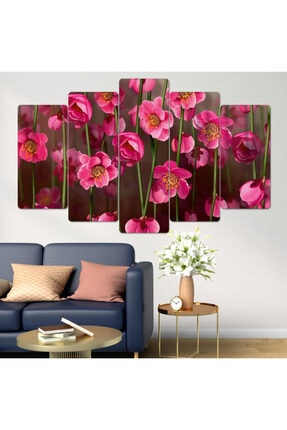hanhomeart Çiçek Pembe Parçalı Ahşap Duvar Tablo Seti-5pr-0899 0