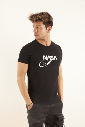 TRICKO Erkek Siyah Baskılı T-shirt 1