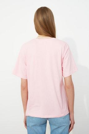 TRENDYOLMİLLA Pembe Nakışlı Boyfriend Örme T-Shirt TWOSS19IS0051 4