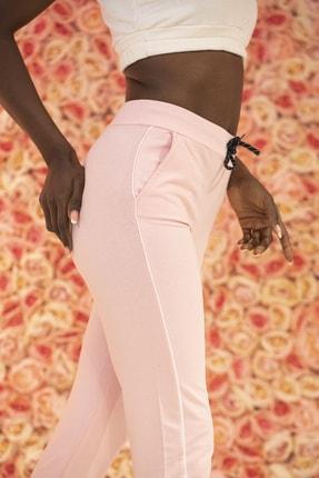 Grenj Fashion Kadın Pembe Yüksek Bel İki İplik Eşofman Altı 1
