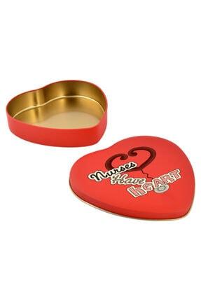 Steteskop Baskılı Hediyelik Kırmızı Kalp Metal Kutu Hemşireler Günü Kırmızı Metal Kutu