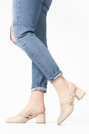 CZ London Kadın Bej Hakiki Deri Sandalet Küt Burun Kare Topuklu Ayakkabı 0