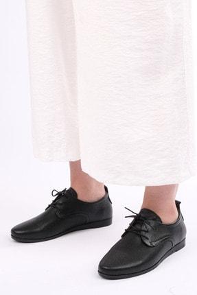 Marjin Avenge Kadın Hakiki Deri Comfort Oxford Ayakkabısiyah 4