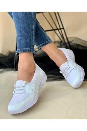 Mistyy Kadın Beyaz Spor Ortopedik Taban Bağcık Detaylı Babet Sneaker 1