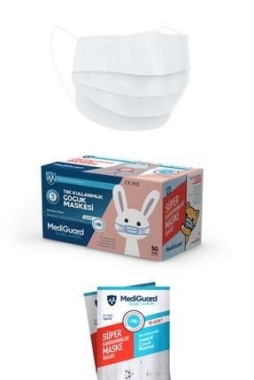 MediGuard Çocuk Beyaz Tıp2r Meltblown 3 Katlı Cerrahi Maskesi 50 Adet 2