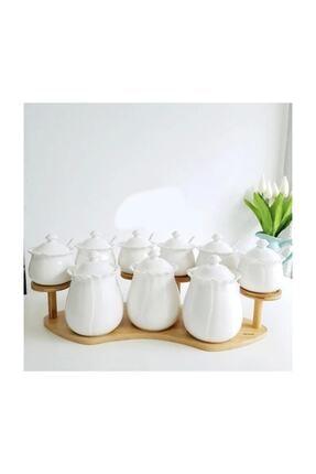 Arow Hürrem Bambu Standlı Porselen 9 Parça Baharatlık Takımı Tr-399 BH221