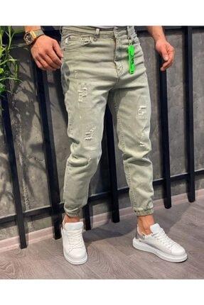 Oliggopol Erkek Yeşil Paçası Lastikli Likrasız Boyfriend Kot Pantolon 0