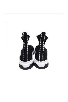 MİRKET Kadın Siyah Filito Çoraplı Yüksek Taban Sneakers Ayakkabı 2
