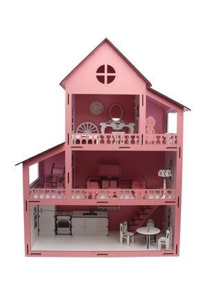 Lora Wedding 63cm Eşyalı Ve 3 Katlı Ahşap Barbie Oyun Evi Pembe 0