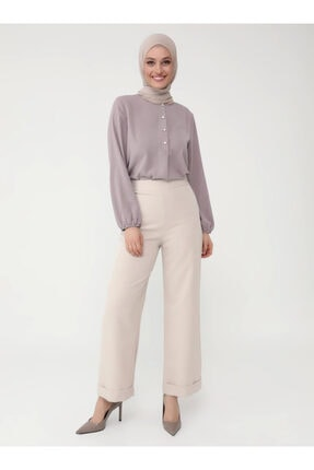 Kadın Bej Duble Paça Kumaş Pantolon resmi