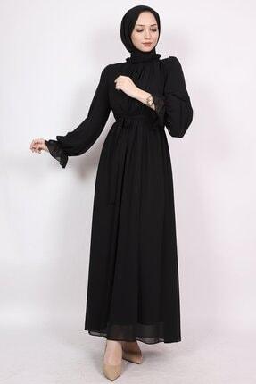 ENDERON Yakası Drapeli Şifon Tesettür Elbise 0
