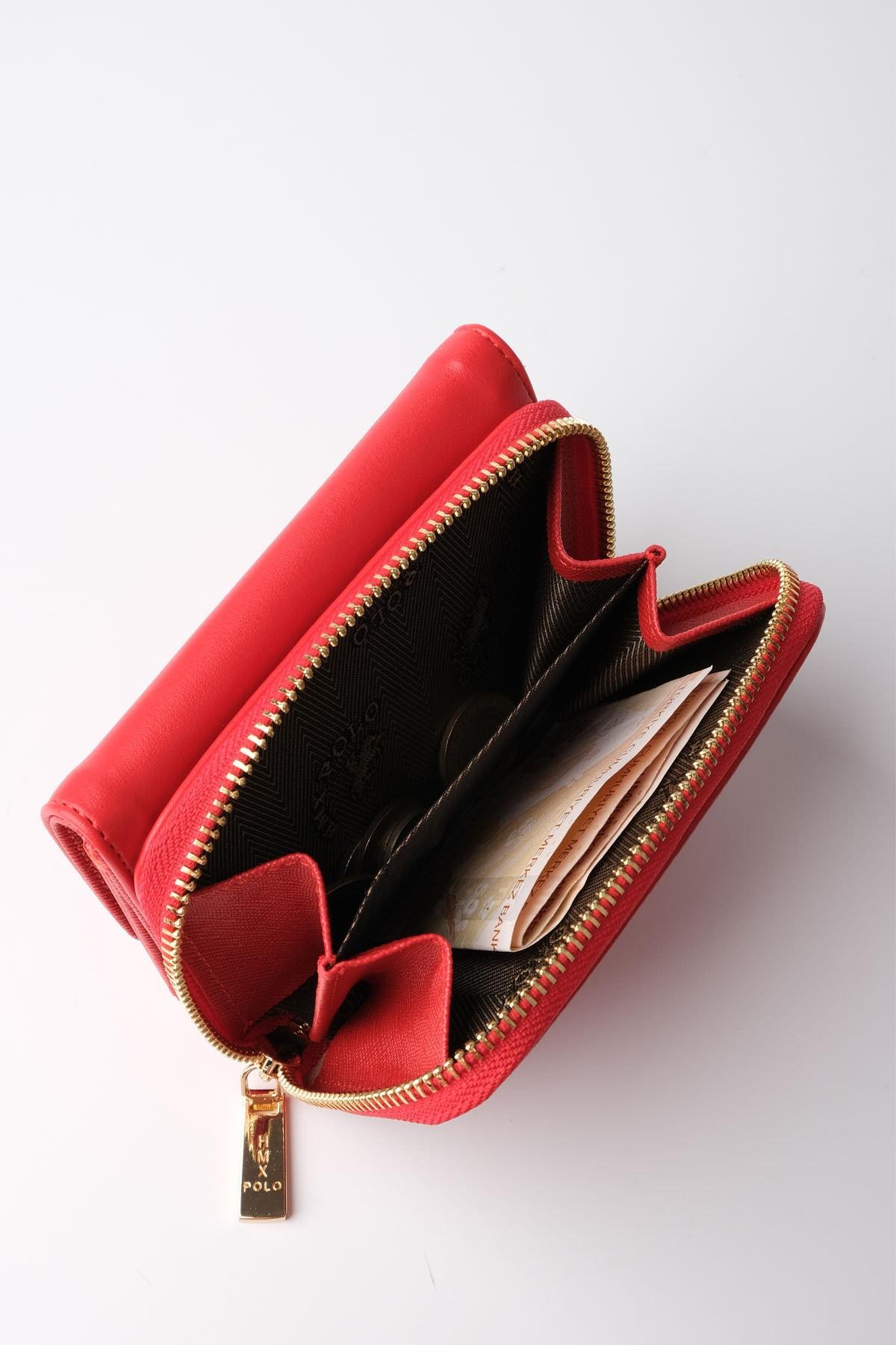 Marjin Kadın Kırmızı Kartlık ve Bozuk Para Bölmeli Cüzdan Hedin