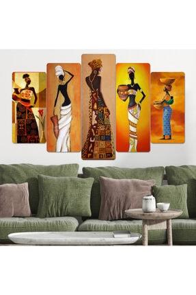 hanhomeart Afrikalı Kadınlar Parçalı Ahşap Duvar Tablo Seti 1