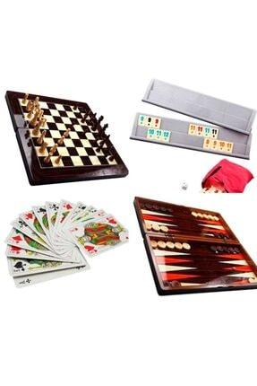 Satranç-Tavla-Dama-Okey-Iskambil Kağıdı Oyun Seti 49985