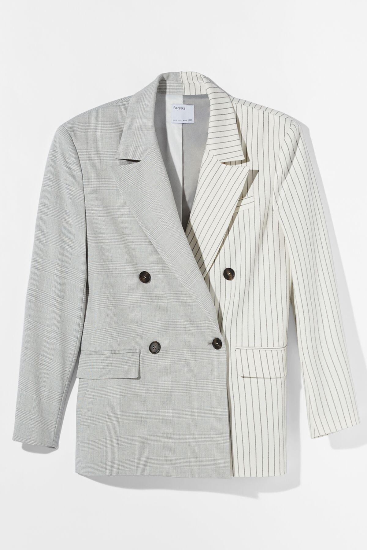 Bershka Kadın Gri Kontrast Klasik Kesim Blazer 01226168 4