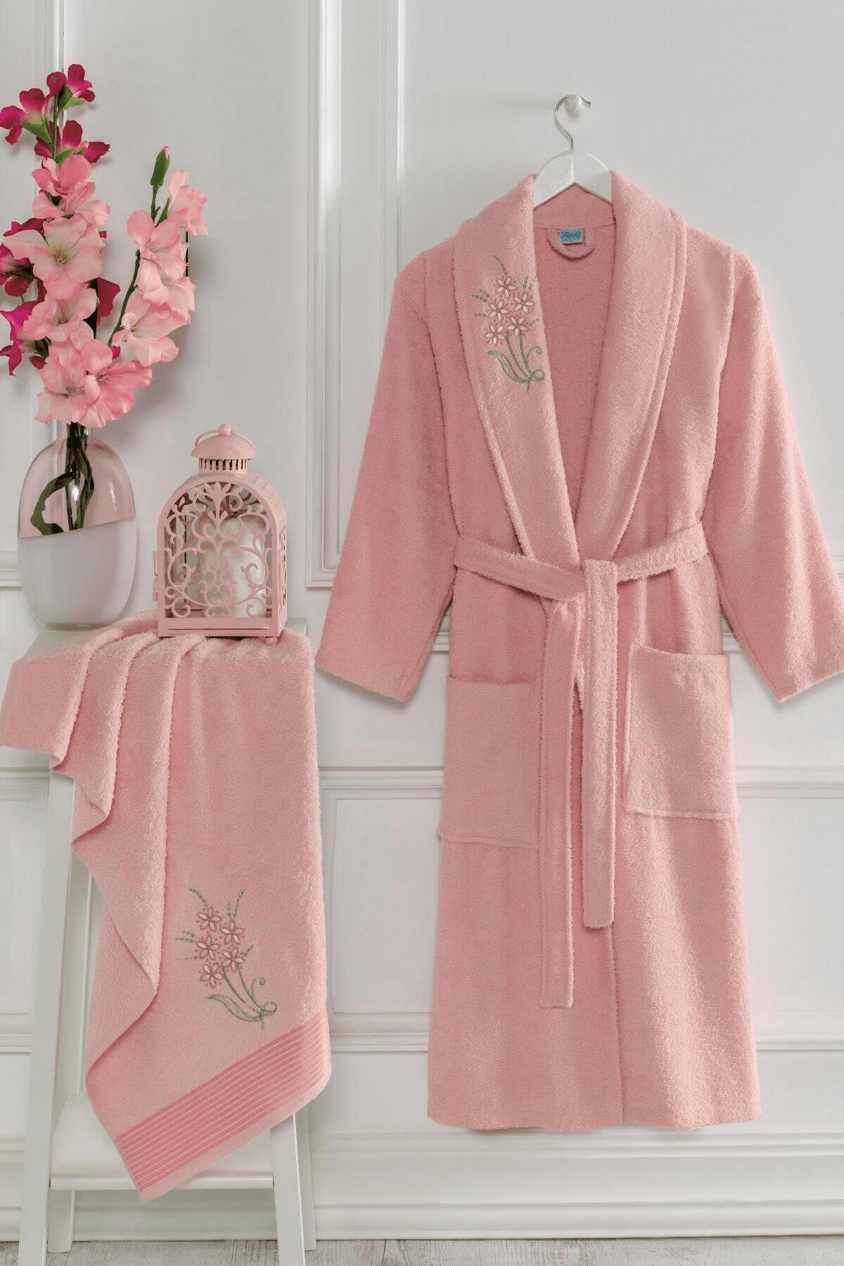 Elmira Textile Şalyaka Unisex Pamuklu Havlulu Banyo Bornoz Takımı 0