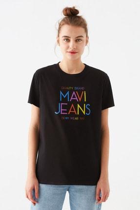 Mavi Kadın Baskılı Siyah Tişört 1600520-900 2