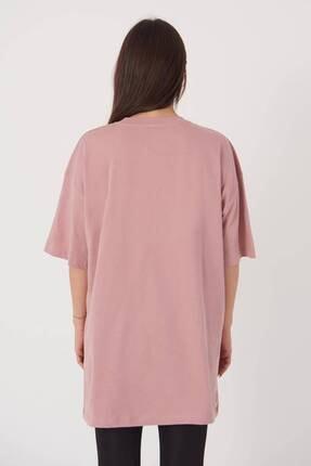 Addax Kadın Gül Oversize T-Shirt P0731 - G6K7 Adx-0000020596 4