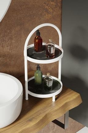 LİLLA HOME Iki Katlı Siyah Mermer Desenli Mutfak Kozmetik Takı Banyo Düzenleyici Organizer 41 Cm 1