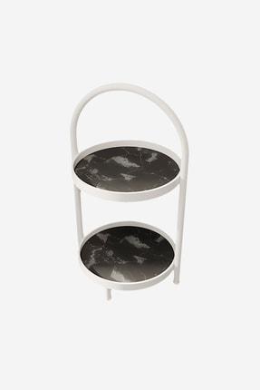 LİLLA HOME Iki Katlı Siyah Mermer Desenli Mutfak Kozmetik Takı Banyo Düzenleyici Organizer 41 Cm 2