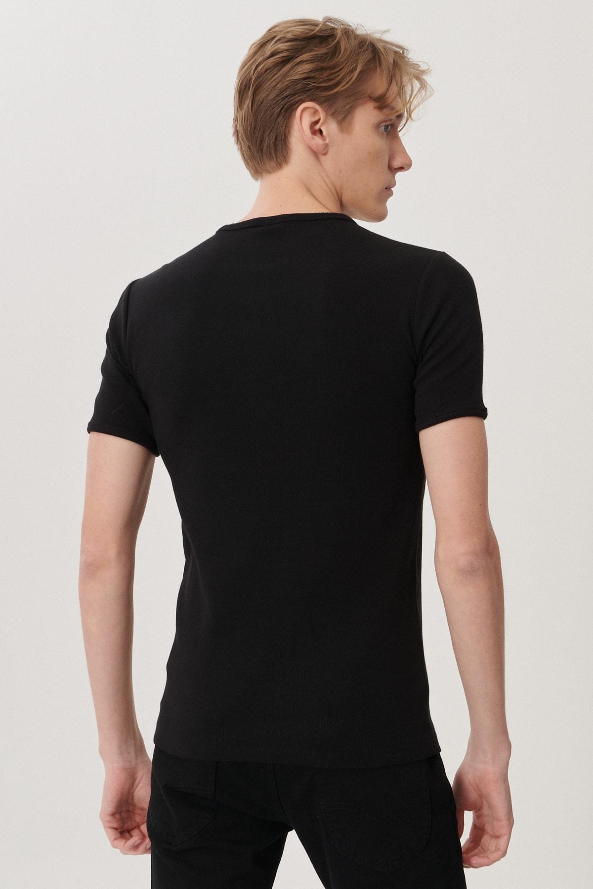 Lee Erkek Siyah Regular Fit Bisiklet Yaka T-Shirt 4