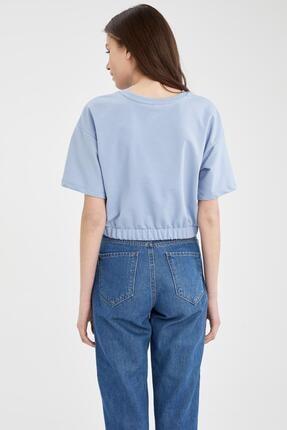 Defacto Kadın Mavi Yazı Baskılı Beli Lastikli Crop Tişört 3