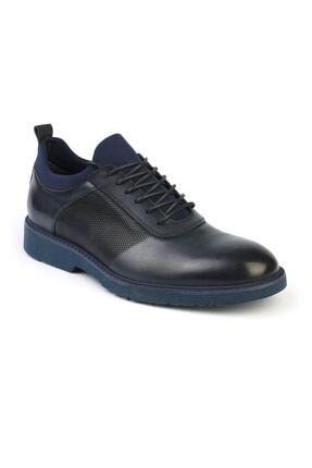 2999 Lacivert Hakiki Deri Erkek Bağcıklı Günlük Ayakkabı resmi