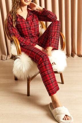 Hadise Ekoseli Düğmeli Pijama Takımı Kırmızı 0