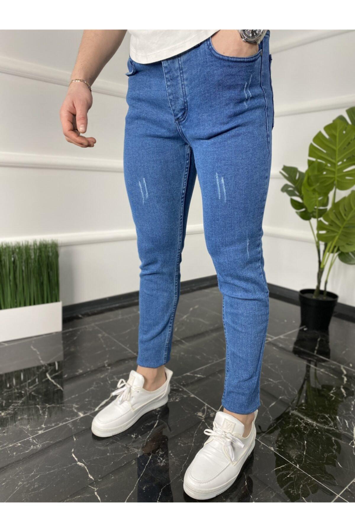 Erkek Mavi Italyan Kesim Kot Pantolon