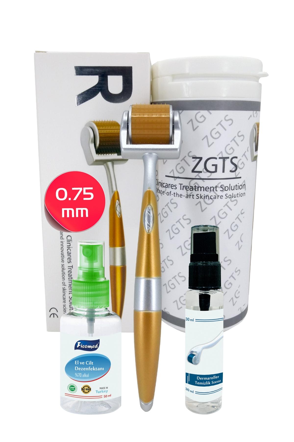 Gold Line Dermaroller 0.75mm + Dezenfektan Hediye Titanyum 192 İğneli Saç Yüz İçin Derma Roller