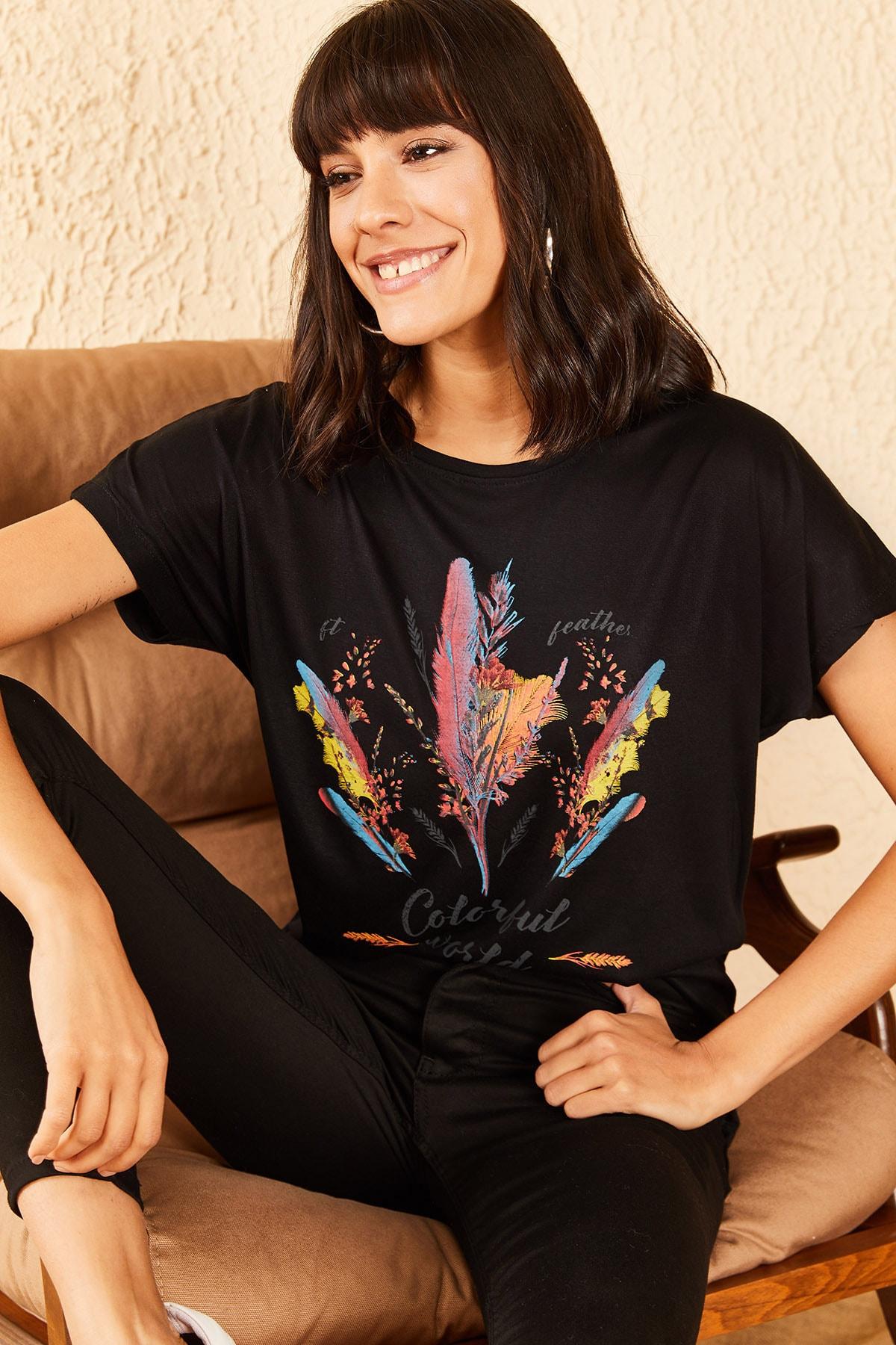 Bianco Lucci Kadın Siyah Üç Yaprak Desenli Viskon Tshirt