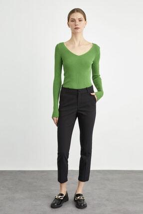 adL Kadın Siyah Paçası Yırtmaçlı Cepli Pantolon 0