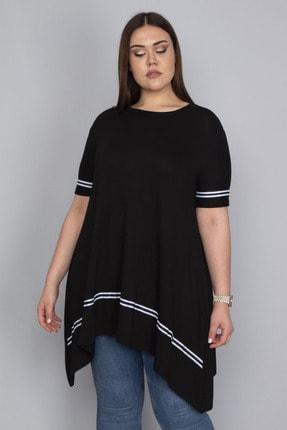Şans Kadın Siyah Şerit Detaylı Asimertik Tunik 65N23133 4