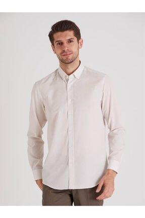 Dufy Bej Desenli Pamuklu Polyester Erkek Gömlek - Slım Fıt 2