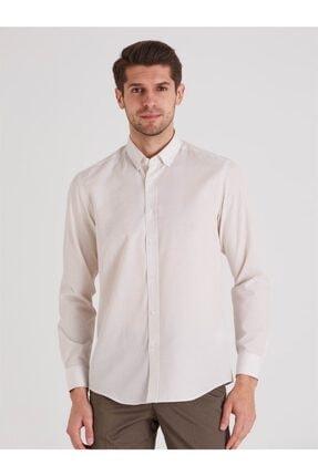 Dufy Bej Desenli Pamuklu Polyester Erkek Gömlek - Slım Fıt 3