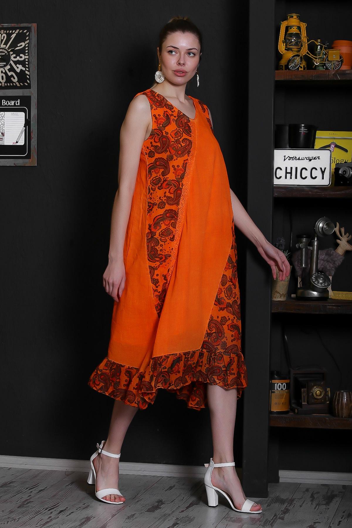 Chiccy Kadın Turuncu V Yaka Kolsuz Şal Desenli Tülbent Detaylı Kopenakili Astarlı Elbise M10160000EL95319 3