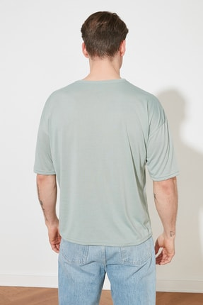 TRENDYOL MAN Mint Basic Erkek Bisiklet Yaka Oversize Kısa Kollu T-Shirt TMNSS21TS0811 4