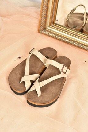 Fox Shoes Kadın Bej Süet Terlik B777753002 2