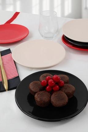 Keramika Krem - Kırmızı - Siyah Tatlı Tabağı 17 cm 6 Adet 1