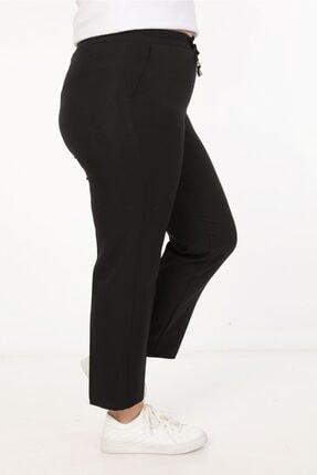 Womenice Kadin Büyük Beden Siyah Spor Kesim Kumaş Pantolon 3